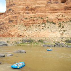View of Rafts on the Colorado River in Ruby Horse Thief Canyon. Taken from Black Rock campsite #7.